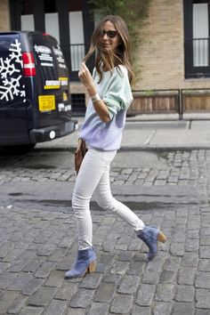 White jeans and blue booties.