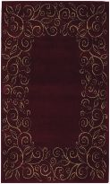 Accents Collection Chateau Garnet Burgundy Contemporary Tan Floral Border Area Rug