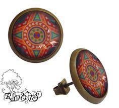 Ohrstecker+Glascabochon+Vintage+Mosaik+orange+rot+von+roots-stoor+auf+DaWanda.com