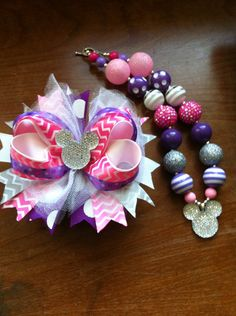 Ready to Ship Pink, Purple, Silver Mickey Minnie Mouse Chunky Necklace and OTT Hair Bow Set on Etsy, $28.50