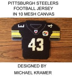 Pittsburgh Steelers Troy Polamalu NFL Football Jersey in plastic canvas Plastic Canvas Ornaments, Plastic Canvas Christmas, Plastic Canvas Crafts, Plastic Canvas Patterns, Needlepoint Patterns, Perler Patterns, Cross Stitch Patterns, Football Crafts, Nfl Football