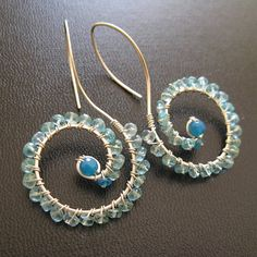 wire wrapped earrings - i like that the hook and earring are all one wire