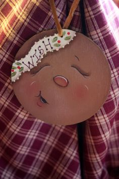 Gingerbread Face Ornament by TracysCrtns on Etsy, $5.00