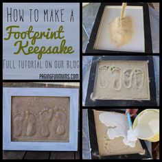 Easy Sand Footprint Craft – A wonderful keepsake and gift. Full DIY instructions including a youtube tutorial via blog.