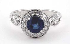 Infinity Halo Blue Sapphire Engagement Ring. | bridesandrings.com