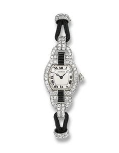 A LADY'S ART DECO DIAMOND AND ENAMEL WRISTWATCH, BY CARTIER The tonneau-shaped cream dial with blued steel hands and black Roman numerals