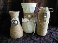 Vases Glass Vases Painted Vases Steampunk Vases by AngelasAntics