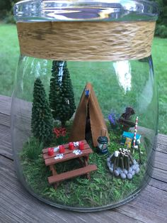 tables wedding Miniature Camping Scene With Tent And Picnic Table In Large Glass Dome - Happy Camper - Glass Dome Included - Miniatures-Wedding Cake Topper Container Plants, Container Gardening, Marshmallow Flowers, Small Pine Trees, Miniature Fairy Gardens, Miniature Beach Scene, Glass Domes, Happy Campers, Wedding Cake Toppers