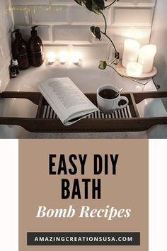 Beautiful photography of bath tub with DIY bath bomb recipes which is so excellent. #diybathbomb #homemadebathbomb #easyrecipes
