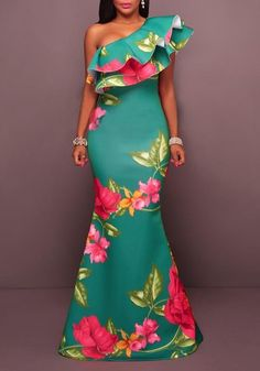 62a6123a4e4 Green Flowers Double Ruffle Asymmetric Shoulder Mermaid Fashion Party Maxi  Dress
