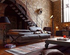 Industrial stairs and brick wall