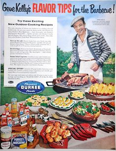 """Gene Kelley's Flavor Tips for the Barbecue"" vintage ad -  Durkee 1955"