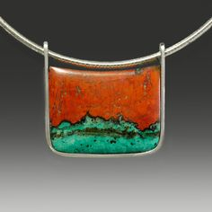 Wolfgang Vaatz necklace Sonora Sunrise from Sonora Mexico with Cuprite (red), Chrysocolla (green) and  Tenorite (black), Sterling silver pendant