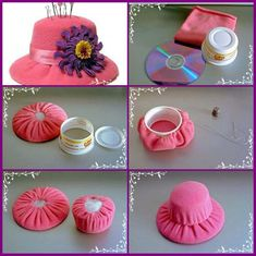Hat pincushion - Looks like it uses old CD and part of a yogurt type container.Hat Pincushion based on a margarine tub - great idea.FELT Hat pin cushion (site not in English but pictures tell it all)agulheiro – Erum Bari Rajput – Join the world o Cd Crafts, Felt Crafts, Crafts To Make, Fabric Crafts, Sewing Crafts, Sewing Projects, Craft Projects, Crafts For Kids, Arts And Crafts