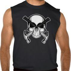 Carpenter Skull: Hammer Crossbones Sleeveless T-shirts Tank Tops