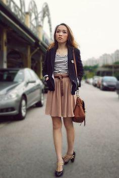 navy Uniqlo blazer - ivory Zara top - beige Monki skirt - charcoal gray Steve Ma