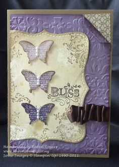 "Fabulous Embossed ""Bliss"" Card with butterflies...using SU Bliss stamp set and Vintage wallpaper folder...KareNstampZ:Bliss."