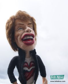 needle felted wool Mick Jagger caricature doll by Kay Petal - Felt Alive Wool Sculptures