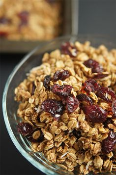 This coconut cranberry orange granola combines the tartness of coconut and cranberries with the sweetness of orange  Full recipe