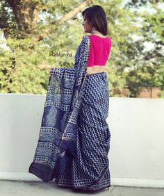 Indigo love Best Indian Sarees Click visit link to read Indian Attire, Indian Outfits, Indian Wear, Pakistani Outfits, Indian Clothes, Formal Saree, Casual Saree, Saree Blouse Patterns, Saree Blouse Designs