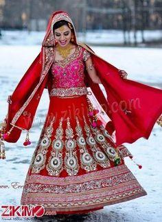 Silver Work Red & Fuchsia Bridal Lehenga