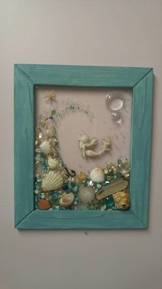 Custom made glass art frame with with vertical tourquise wood frame Custom made sea glass art frame with Mermaid with wave Sea Glass Crafts, Sea Glass Art, Stained Glass Art, Resin Crafts, Diy Crafts, Seashell Art, Seashell Crafts, Beach Crafts, Glass Art Design