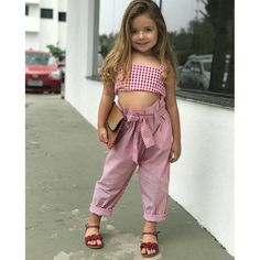 Plaid Bow Top and Stripe Belted Pants Set for Baby / Toddler Girl Baby Outfits, Little Girl Dresses, Kids Outfits, Girls Dresses, Fashion Kids, Baby Girl Fashion, Kids Frocks, Stylish Kids, Kids Wear