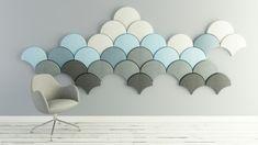 Ginkgo est une isolation phonique moderne à la fois pratique et esthétique qui réduit le bruit ambiant tout en créant une mosaïque murale ludique.