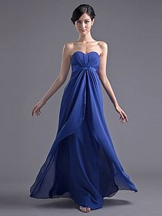 Sweetheart Empire Floor Length Prom Dress with Center Front Split - USD $89.69