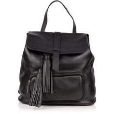 Nadia Minkoff - The Finsbury Backpack Black (2.490.470 IDR) ❤ liked on Polyvore featuring bags, backpacks, leather zipper backpack, one strap backpack, real leather backpack, leather drawstring backpack and leather flap backpack