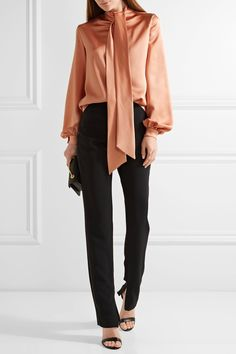 TOM FORD | Pussy-bow silk-satin blouse | NET-A-PORTER.COM