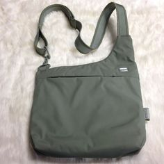 "Pacsafe Crossbody Messenger Bag Solid Olive Green 12.5""X11""  Medium  