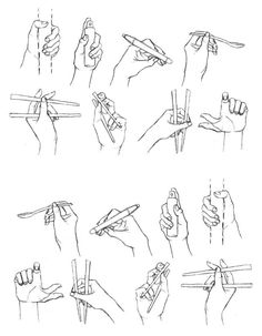 How to draw a hand, hands, chopsticks, holding, drawing lesson