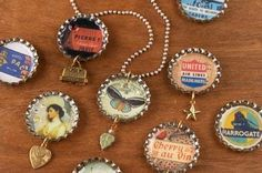 Decoupage images inside bottle caps and seal with resin.  Make pendants, earrings, charms, etc