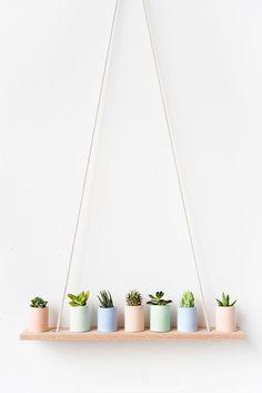 Pastel mini planters on simple DIY shelf