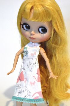 Blythe dress, Blythe clothing, Shibajuku dress, Blythe dress with cats and butterflies, Eclectic Wandering handmade, Blythe doll dress by EclecticWandering, $8.75 USD