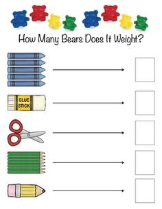 This is a fun activity to explore the science of balance and weight in the classroom. Have the students use the classroom balance scales to see how much items from their pencil boxes weigh. Does it weigh 1 bear, 2 bears, 3 bears, or more? Measurement Kindergarten, Measurement Activities, Math Measurement, Preschool Math, Kindergarten Classroom, Kindergarten Activities, Fun Math, Teaching Math, Science Center Preschool