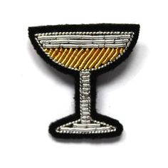 Hand embroidered champagne glass brooch, inspired by military embroidery, by Macon & Lescuoy * www.the-pippa-and-ike-show.com