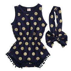 Baby Girl Clothes Gold Dots Bodysuit Romper Jumpsuit One-pieces Outfits Set (6-12 Months Navy Blue)