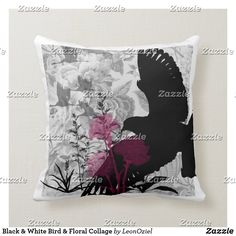 Shop White Black Bird Floral Collage Throw Pillow created by LeonOziel. Custom Pillows, Decorative Throw Pillows, Black And White Birds, Collage, Knitting, Floral, Accent Pillows, Collages, Personalized Pillows