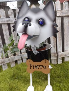 Personalized Husky Dog Garden Planter by IngridsSecretGarden, $45.00