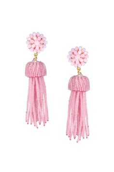 "3.5"" long Glass beaded earrings 18 grams Nickle and lead free   Pink Tassel Earrings by Lisi Lerch. Accessories - Jewelry - Earrings - Statement Dallas, Texas"