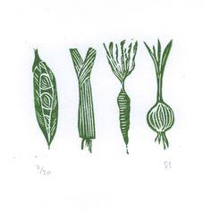 Garden Vegetables - original linocut print by Jon Spooner and Sarah Gregory   The Lapwing Printworks
