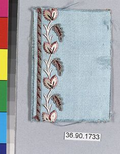 Embroidery sample for a man's suit or waistcoat    MET MUSEUM (numerous other designs/sample cards)
