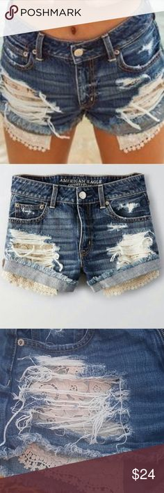 American Eagle Women/'s FESTIVAL SHORTIE Floral Stitching Shorts NWT several **