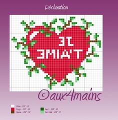 Je t´aime - I love you hama beads pattern by aux4mains