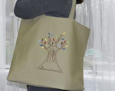 Personalized Family Tree Tote Bag makes a great gift! This tote has hand embroidered names of each family member and the base or root of the tree can be personalized with the word of your choice (I.e. family, familia, grandma, mother, etc.). Celebrate the ones we love and those that keep us grounded. Makes a great beach tote, overnight bag, or everyday accessory.  Gift wrapping available upon request. Leaf color options include: shades of green, multicolor (shown), autumn shades, or custom…