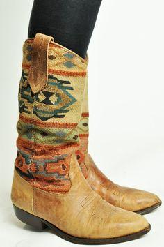 Aztec print cowboy boots