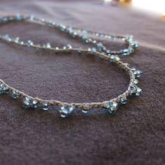Vintage Blue Glimpse elegant crocheted seed bead by TrueJune