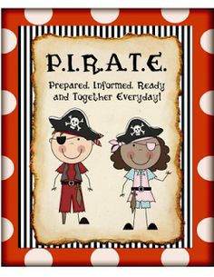 """FREE!  Pirate Themed Classroom:  I use P.I.R.A.T.E. binders in my classroom to help keep us organized. Each child gets a 1"""" notebook. This is the cover.  I laminate it with my Scotch laminator (so that I can reuse them for several years) and slide it in the front pocket of the binder.   I print out labels with each child's name and put them on the spine of the binder.  Click on the cover to download it."""